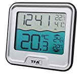 TFA Dostmann 30.3066 Funk Poolthermometer Marbella Schwimmbadthermometer (Silber)