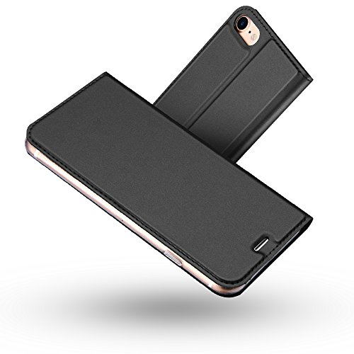 Funda iPhone 8,Funda iPhone 7,Radoo Slim Case de Estilo Billetera Carcasa Libro de Cuero,PU Leather Con TPU Silicona Case Interna Suave [Cierre Magnético] para iPhone iPhone 7 / iPhone 8(Gris oscuro)