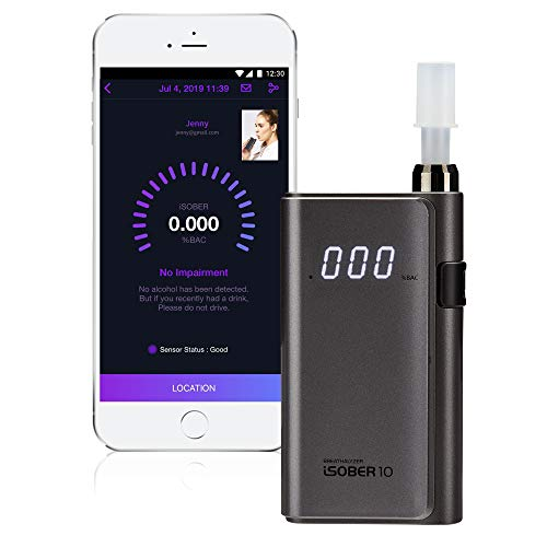 iSOBER 10 Breathalyzer | DOT, NHTSA Compliant Alcohol Tester | Suracell FuelCell Sensor Technology | [Patent Pending] Self-Diagnose The Sensor Status Check System Installed