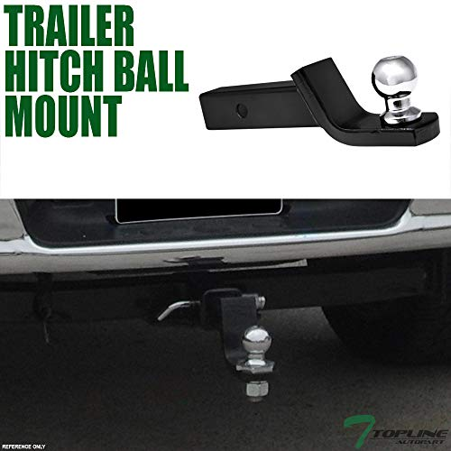 Topline Autopart Universal 2 Inch Drop Rear Bumper Trailer Tow Hitch Loaded Ball Mount With Pin & Clip Kit For 2' x 2' Towing Receiver Tube