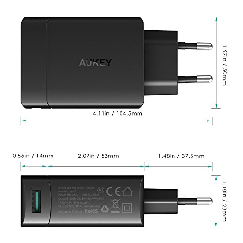 AUKEY USB C Ladegerät mit Power Delivery 29W, 1 USB C Ausgang oder Dual USB Ausgänge für New MacBook, Nexus, Pixel / XL und mehr