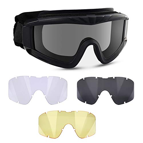 Flantor Airsoft Goggles -Outdoor Tactical Goggles Safety Anti Fog Goggles Military Goggle Glasses with 3 Interchangable Lenses & UV400 Protection for Paintball Hunting shotting Cycling