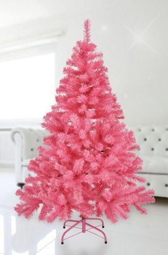 Spetebo Künstlicher Weihnachtsbaum 150 cm in rosa - mit Metallständer - Tannenbaum Kunstbaum pink