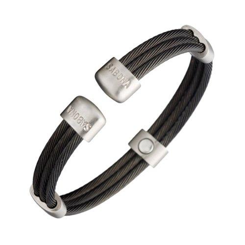 Sabona of London Magnetschmuck Unisex Armspange für Damen und Herren aus Edelstahl in Schwarz mit silbernen Akzenten, Verschiedene Größen