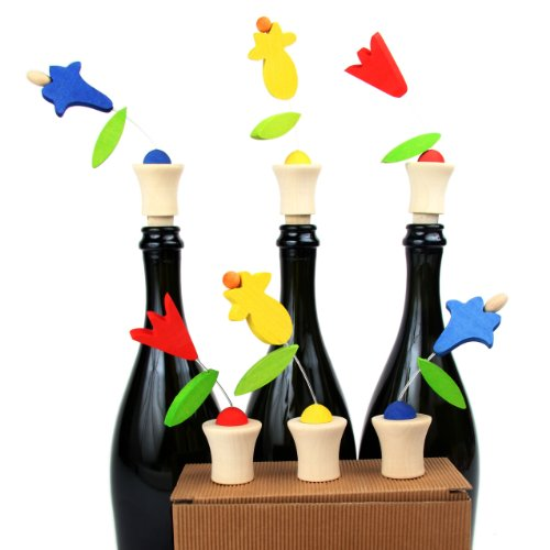 Legnomagia - made in Italy: TRIS GIARDINO tappi da bottiglia in confezione regalo