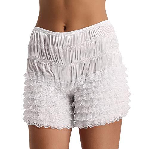 Agoky Damen Unterhose Unterrock Shorts langes Bein Schlüpfer Slip mit Rüschen Spitze Sicherheits Shorts Unterwäsche Leggings Kurz Hose Yoga Tanzen M-XL Weiß XL(Taille 78-150cm)