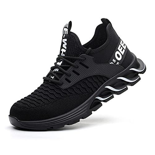 Aingrirn Sicherheitsschuhe Herren Damen Bequee Leichte UnzerstöRbare Schutzschuhe Sportlich Stahlkappe Sneaker (Color : Black, Size : 39 EU)