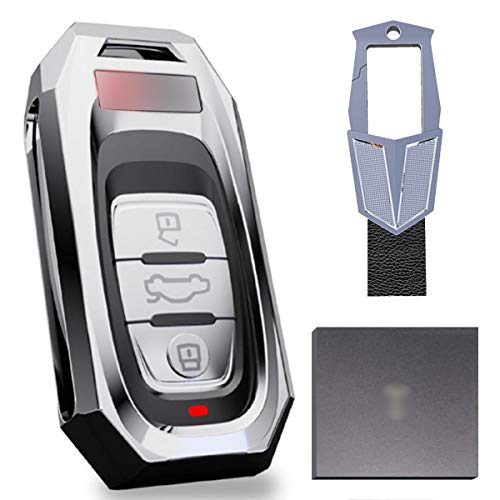 Autoschlüssel Hülle ,Passend für Audi Schlüsselhülle, Audi A4 / A5 / A6L / A7 / A8 / A8L / Q5 / S5 / S6 / S7 / S8 Autoschlüssel Zinklegierungsschutz Hartschale + Metallschlüsselring, Silber