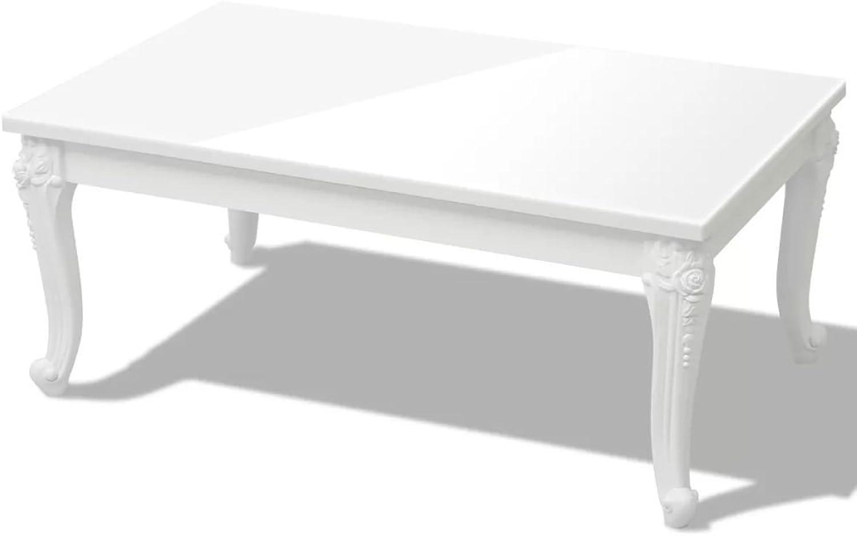 Furniture of Daonanba White High Gloss Coffee Table, Rectangular Cocktail Table