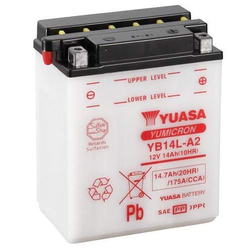 YUASA YB14L-A2 - Batteria 12 V/14 AH (dimensioni: 136 x 91 x 168) per Gilera Nexus 500 anno di costruzione 2004