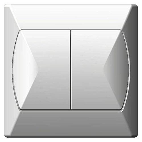 Dubbele knop, groot, binnenschakelaar, basic, wandplaat, wit.