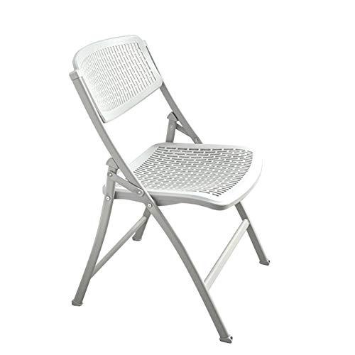 GZLL Stapelbarer Stuhl, Klappstuhl, Bürostuhl, Stahlrohrrahmen, ABS Hohlstütze und Sitz, Kunststoff-Campingstuhl (Farbe : Weiß)