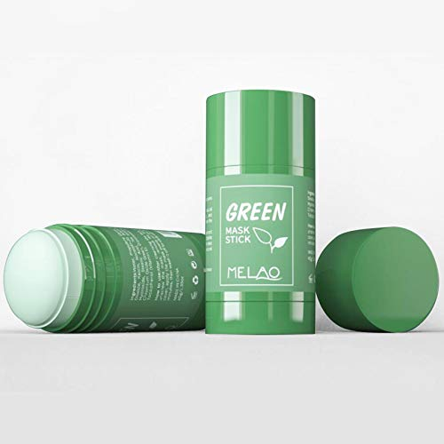 2PCS Green Mask Stick for Face: Deep Clean Oil Control Daily Exfoliating Facial Scrub with Green Tea,Cleansing Facial Clay Mask Stick for All Skin Types
