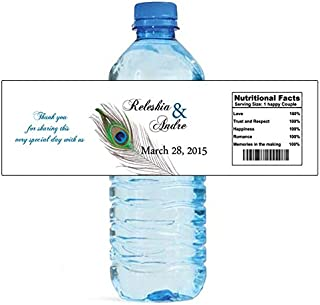 100 New Peacock Wedding Water Bottle Labels Great for Engagement Bridal Shower Party 8