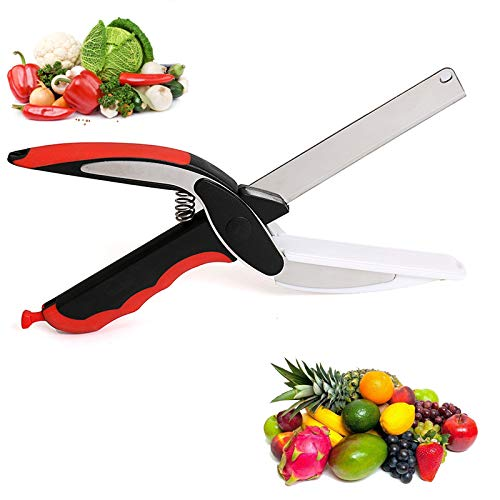 Kitchen Food Cutter Chopper Clever Kitchen Knife with Cutting Board, Clever Multipurpose Food Scissors Stainless Steel Vegetable Slicer Fruit Cutter Quick & Easy to Cut BBQTools (Red)