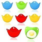 8 Stück Eier Dampfgarer,Silikon eier pochierer,Eier-Pochierer,Eier-Pochierbecher Silikon Eierkocher Tassen,Silikon Wildern New pochiert Ei Maker Set,Spiegeleierformen für die pfanne,Mikrowelle