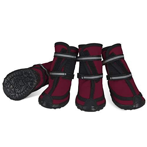 Dociote Hundeschuhe pfotenschutz mit Anti-Rutsch Sohle, reflektierendem Riemen, Klettverschluss wasserdicht Schneeschuhe für mittelgroße große Hunde 4 Stück Rot XS