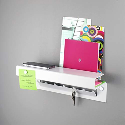 Hello   Schlüsselregal/Schlüsselbrett mit Ablage, 7 Haken, aus massivem Stahl pulverbeschichtet, inkl. 3 Magnete, Schlüsselboard mit Briefablage, Magnet-Pinnwand, für den Flur/Eingangsbereich - Weiss