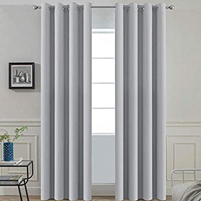 Yakamok Room Darkening Grommet Window Drapes Thermal Insulated Light Blocking Blackout Curtains for Bedroom(52Wx96L,Light Grey,2 Panels)