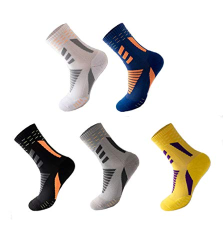 Holyeagle CNon-slip sports socks for men and women are used for football, basketball, running and other sports. Breathable, sweat-wicking, anti-friction. 5 packs. One size 38-44. (A)