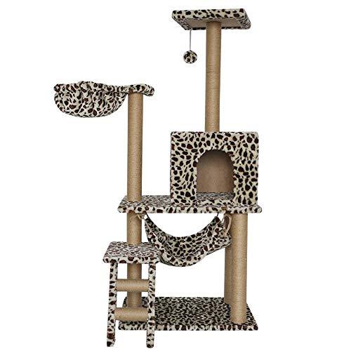 WH-IOE Rascador Rascador Centro de Actividades Columpio Paradise Pet del Gato Hierba de Pampa rasguña el árbol de Gato Uña de molienda con el Gato Net House Gato Juego Torre