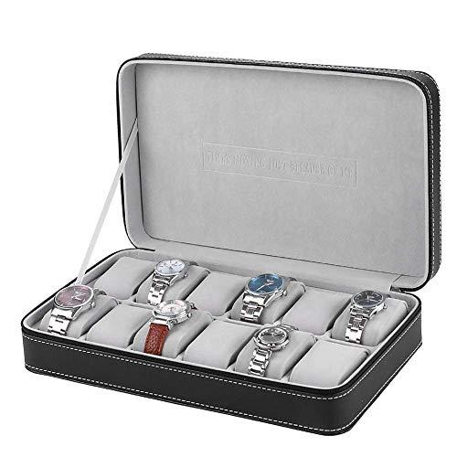 THj Caja de Reloj Caja de Relojes 12 Rejillas Caja de Almacenamiento de Relojes con Cremallera Vitrina de joyería para Hombres Mujeres Pantalla de Reloj Moda/Negro / 33x20x7.5cm