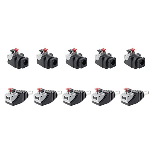 SIM&NAT DC Power Cable Jack Adapter Press Plug, 2.1mm x 5.5mm Male Female Connectors without Screw Installation for CCTV Security Camera/LED Strip (5 PCS Male + 5 PCS Female)