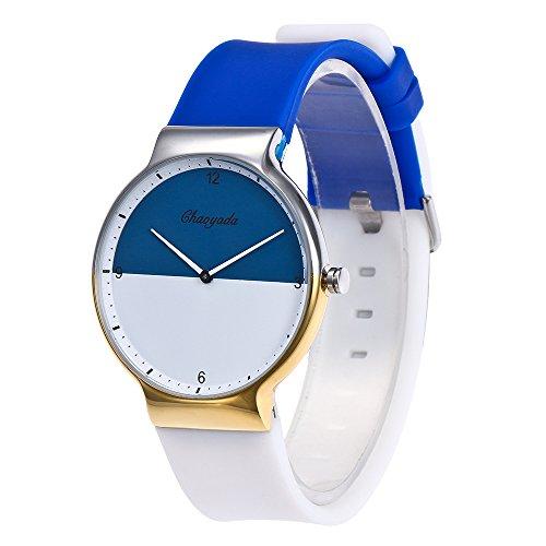 YAZILIND Quarz wasserdicht Titan Stahl Armbanduhr Runde Zifferblatt Silikon Armband Modeschmuck Verschluss orange Uhr