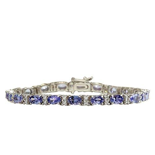 11.01quilates Natural azul tanzanita y diamante 14K oro blanco pulsera de tenis...