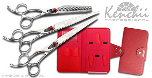 Kenchii Grooming Spider Shears Left Hand - Choose Straight, Curved, Thinner, or Set - 6 Pack Finger Inserts Included (8.0 Lefty Set)