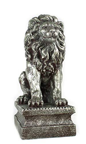 DARO DEKO Garten-Figur XXL Löwe auf Podest 72cm Silber-grau-Gold