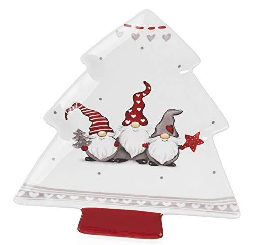 Paben Noel Vassoio antipastiera in Ceramica Smaltata Albero Natale con Gnomi cm. 27