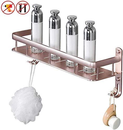Badkamermeubel met handdoekhouder en haken van aluminium zonder boren wandmontage douchecabine keukentrolley roségoud (kleur: B maat: 40 cm) 60cm Een