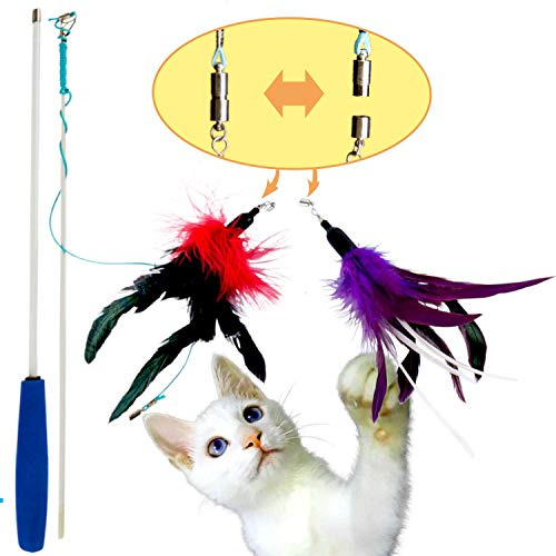 PLAYHUNTER Interactive Cat Wand Feather Toy, Tug Attachment for Play, Exercise, and Enrichment, Natural Teaser for Kittens, Flexible Chase and Includes Refill cat Toys Wand 33inch