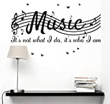 It's Not What I Do It's Who I Am Music Home Vinyl Wall Decals Quotes Sayings Words Arts Butterflies Flying Wall Decors Lettering Vinyl Wall Stickers, 30' w X 12' h, Black