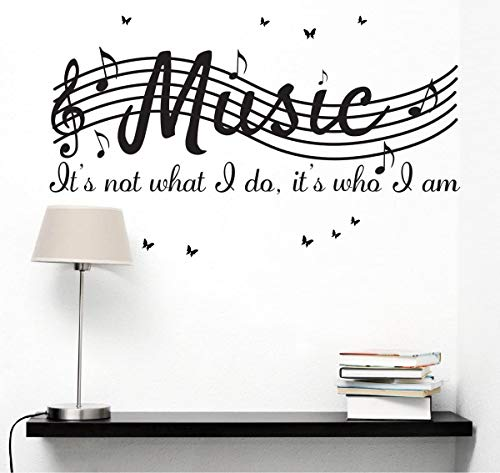 Its Not What I Do Its Who I Am Music Home Vinyl Wall Decals Quotes Sayings Words Arts Butterflies Flying Wall Decors Lettering Vinyl Wall Stickers, 30 w X 12 h, Black