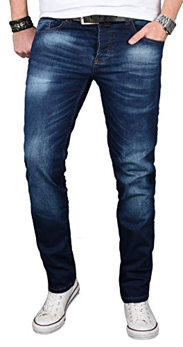 Alessandro Salvarini Designer Herren Jeans Hose Regular Slim Fit Jeanshose Basic Stretch [AS-058 - W34 L30] , Dunkelblau Washed