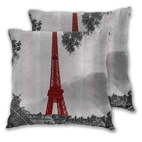 ELIENONO Juego de 2 Decorativo Funda de Cojín Torre Eiffel roja Vintage European City Paris Funda de Almohada Cuadrado para Sofá Cama Decoración para Hogar,60x60cm
