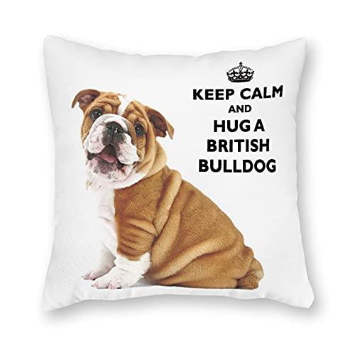 happygoluck1y Fundas de almohada de lona con diseño de bulldog británico, de 45,7 x 45,7 cm, decorativas divertidas, fundas de almohada para sofá