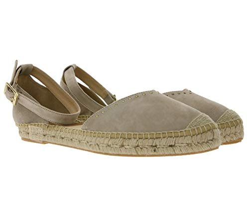 Kanna Espadrilles Schlichte Damen Sandalette mit Knöchelriemen Echtleder Sommer-Schuhe Ibiza Style Beige, Größe:41