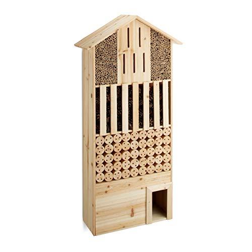 Relaxdays Hôtel à insectes en bois XXL abri abeilles papillo