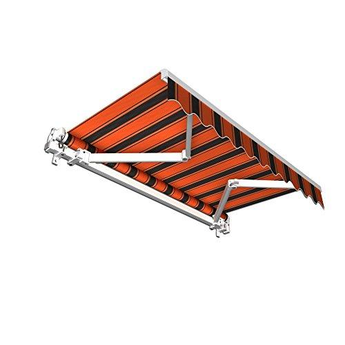 jarolift Gelenkarmmarkise Basic Balkonmarkise Sichtschutz für Terrasse, 350 x 300 cm (Breite x Ausfall), Orange-Schwarz Multistreifen