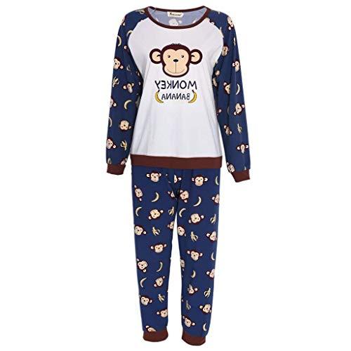 Langarm Schlafanzug Damen Langarm Hemd Und Set Hose Pyjama Comfort Nacht Herbst Mode Marken Homewear Nachtwäsche (Color : AFFE, Size : M)