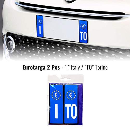 4R Quattroerre.it Adesivi Targa Auto Italia Europa Provincia Torino con Placchetta Rigida