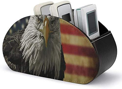 Organizador de cuero de PU para control remoto, águila calva americana con bandera de grunge, organizador de escritorio con carrito remoto con 5 compartimentos espaciosos, soportes para control remot