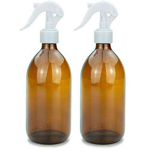 Botella pulverizadora de vidrio 500 ml - Botellas de vidrio ámbar recargables Para productos de limpieza, desinfectantes, plantas y más - 2 piezas