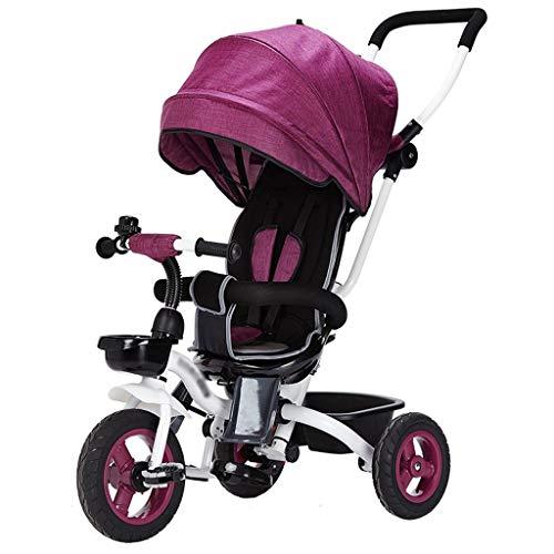 Zoe home Triciclo Infantil 4 en 1 for niños de 1 a 3 años Carro Plegable for Cochecito de bebé Cochecito for niños Carrito Buggy Cuna Asiento Reversible Triciclo for niños Bicicleta de 3 Ruedas