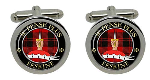 Erskine Clan écossais pour homme Écusson Chrome Boutons de manchette avec coffret cadeau