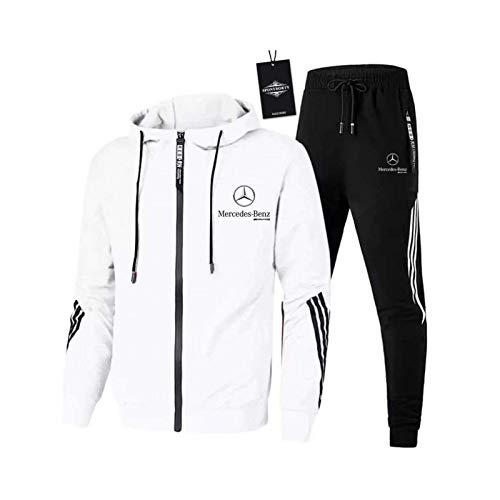 AGLOAT Herren und Damen Trainingsanzug Jogginganzug Sportanzug Jogginghose Zweiteilige Trainingsjacke Pants Stripe mit Kapuze Mantel Sportbekleidung Sporthose,Weiß-L