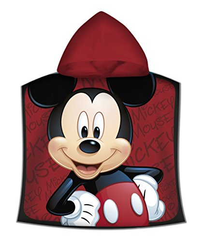 Kids - Poncho Toalla, Diseño Mickey, color Rojo, 50 x 100